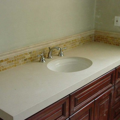 yellow travertine mosaic bathroom