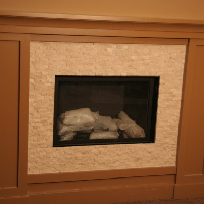 Cream splitface fireplace