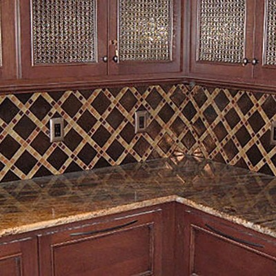 Ceramic with glass insert backsplash