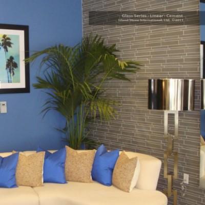 Lilnear with blue cushions