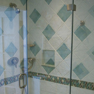 Porcelain Shower Crystal Glass Rhomboid