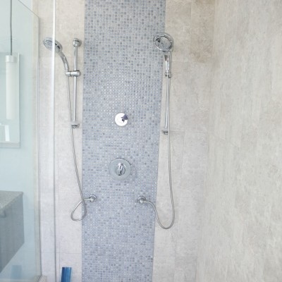 porcelaintile mosaic center shower
