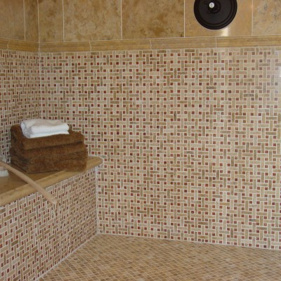 Mosaic shower wall