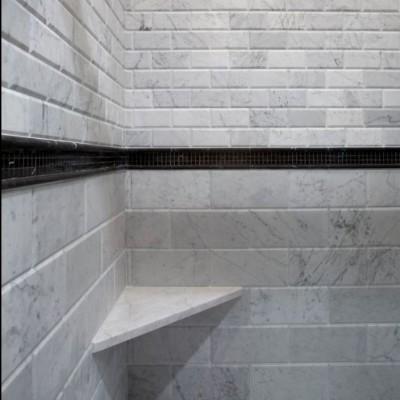 Beveled Bianco Carrara with Basketweave