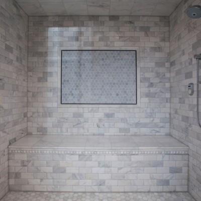 Beveled Carrara with Hexagon Mosaic