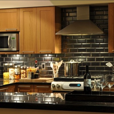 Beveled Mirror Backsplash