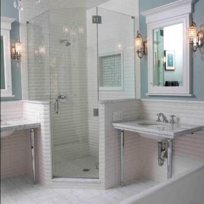 Beveled Tile Shower Installation