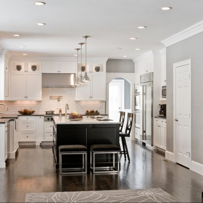 Beveled Subway Tile in Traditional Kitchen