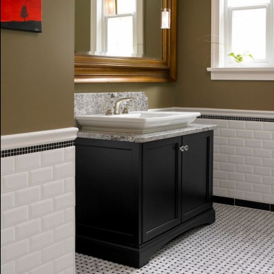 Beveled White Subway Tile with Carrara Basketweave Mosaic