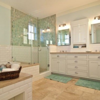Beveled White Subway Tile Shop Bathroom