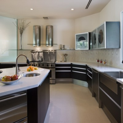 Caeserstone White Counter White Porcelain Floor