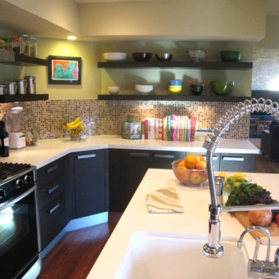 Caeserstone White Counters Glass Mosaic Backsplash