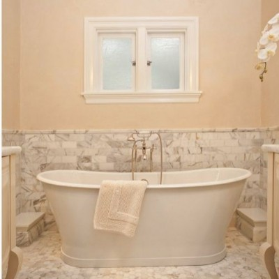 Calacatta Gold Subway Tile Hexagon Bathroom