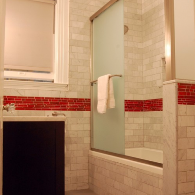 Classic Crema Marfil Subway Red Glass Mosaic