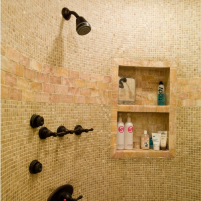 Classic Honey Onyx Mosaic Shower
