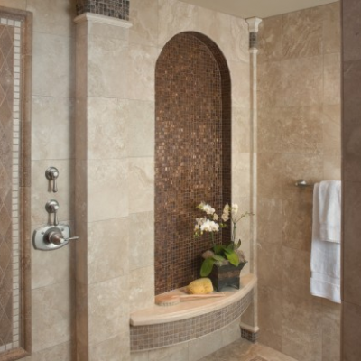 Classic Light Travertine Shower Glass Mosaic Accents