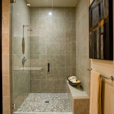 Classic Shower Limestone Tile Mosaic Shower Floor
