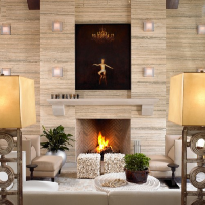 Contemporary Artistic Ocean Beige Fireplace