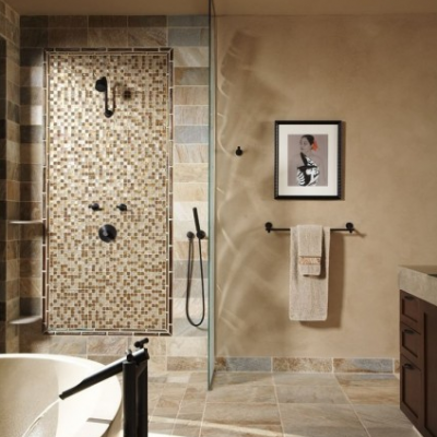 Contemporary Bathroom Desert Gold Quartz Curbless
