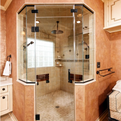 Contemporary Shower Porcelain Tile Travertine Mosaic