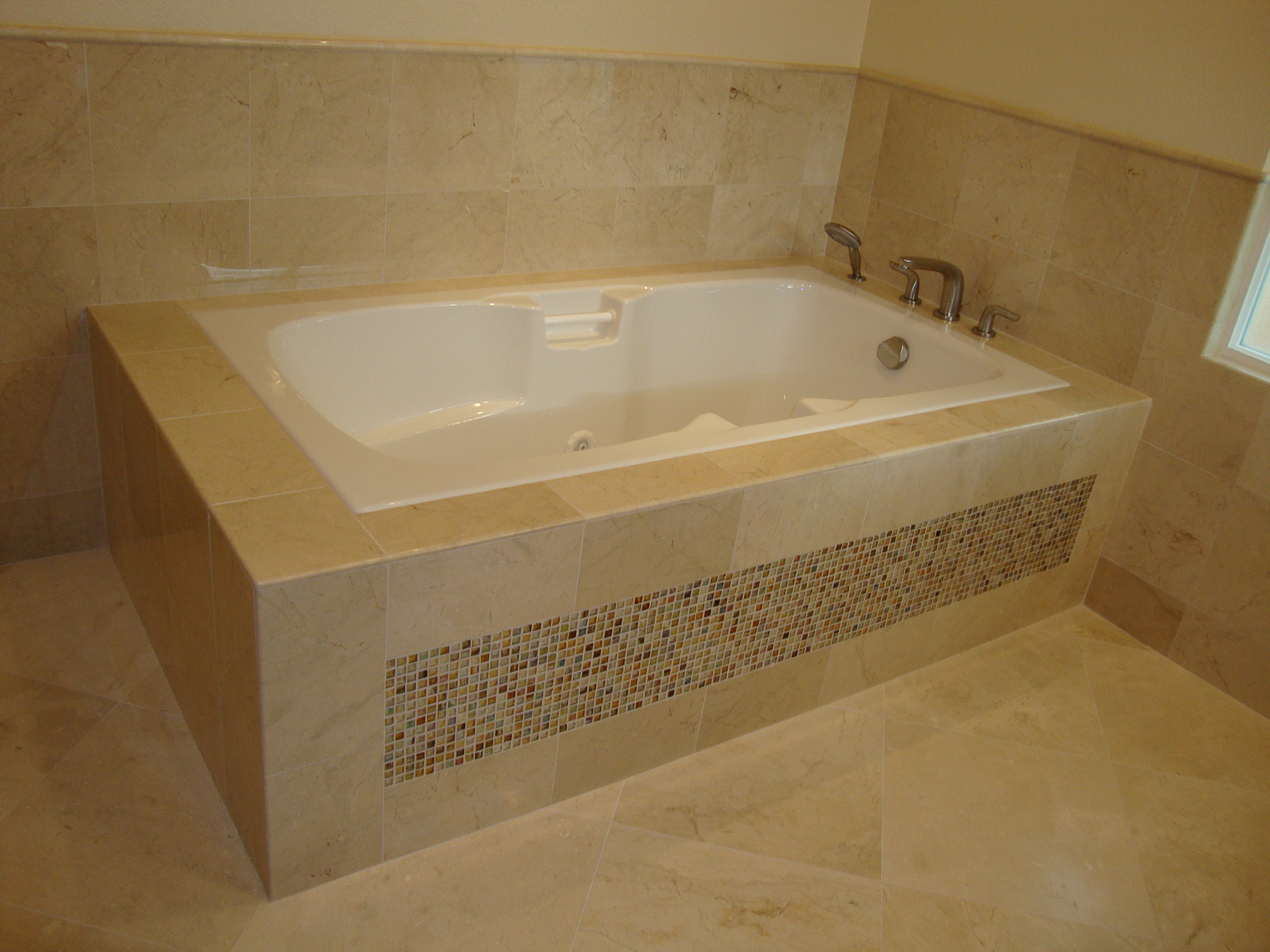 Tubs westside tile and stone - Best paint color for crema marfil bathroom ...