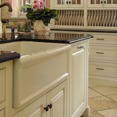 Farm Sink Chisled Travertine Floor Granite Counter