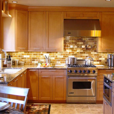 Granite Counter Porcelain Floor Honey onyx Backsplash