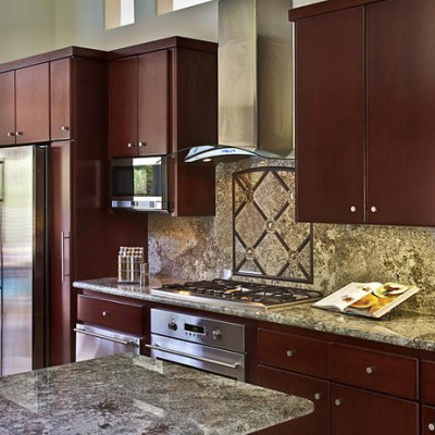 Granite Counters with Marble insert Backsplash