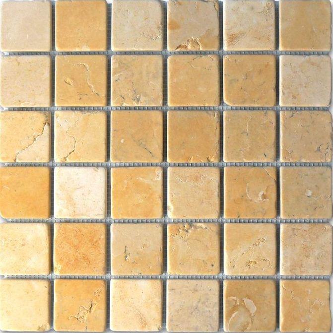Polished travertine subway tile