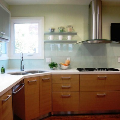 Large Format Glass Backsplash