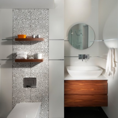 Modern Bathroom Brown Porcelain White Marble Pebble Mosaic