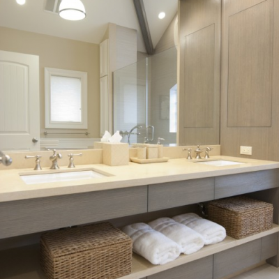 Modern Bathroom Caeserstone Counter Linen Porcelain Floor