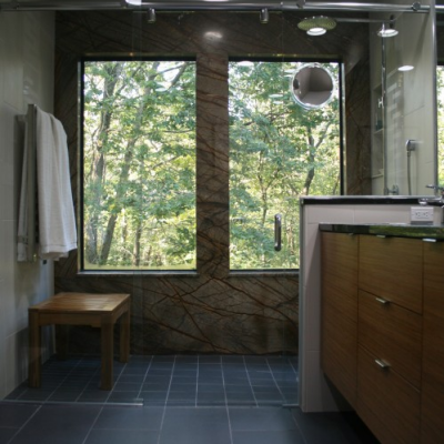 Modern Bathroom Curbless Shower Large Porcelain Rainforest Brown Slab