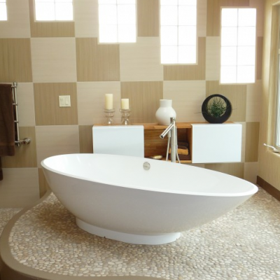 Modern Bathroom Free Standing Tub Pebble Floor Porcelain Wall