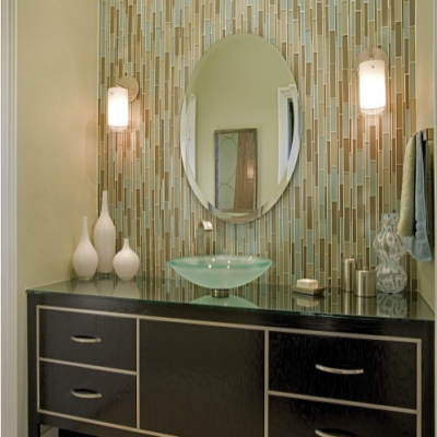 Modern Bathroom Glass Mosaic Backsplash