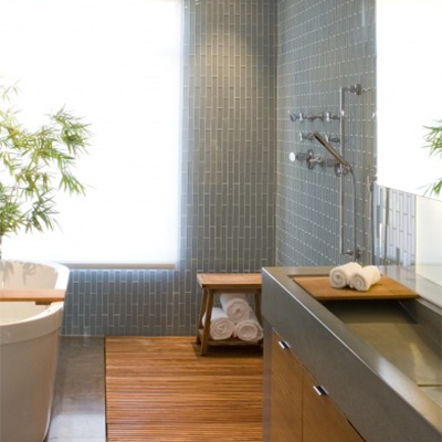 Modern Bathroom Glass Mosaic Curbless