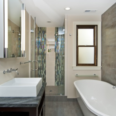Modern Bathroom Porcelain Floor Glass Mosaic Waterfall