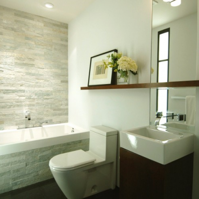 Modern Bathroom Porcelain tile Floor Ledger Wall