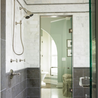 Modern Grey with White Marble shower