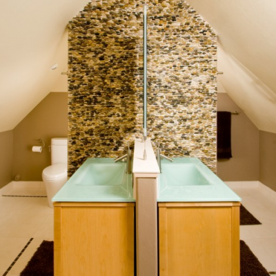 Modern His and Her Sinks Stacked Polished Pebble