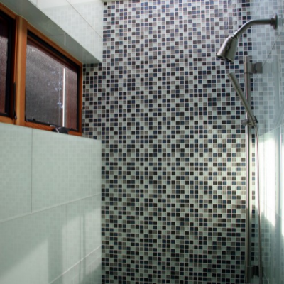 Modern Large Format Glass Mosaic Shower