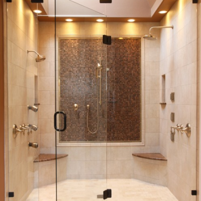 Modern Shower Travertine Glass Mosaic