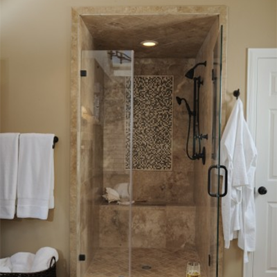 Modern Travertine Bathroom Mosaic Window