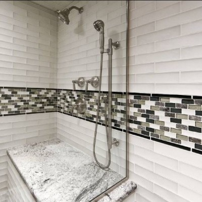 Artistic Tile Wolfgang White with Oceanside Glass Mosaic