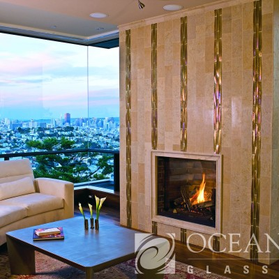 Oceanside glass fireplace