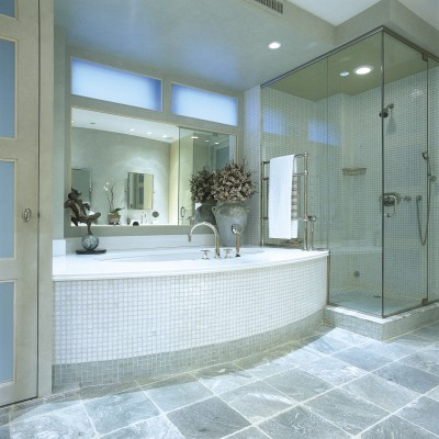 Oceanside Glass Green Slate Bathtub Shower