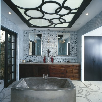 Oceanside Glass Mosaic behind vanity