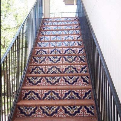 Saltillo Tile Staircase with Talavera Decos