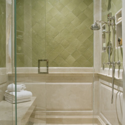 Shower Ceramic with Glass Mosaic Floor