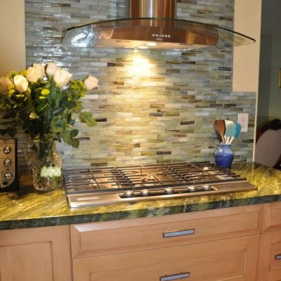 Stone and Pewter Sumi e Glass Tile Kitchen Backsplash